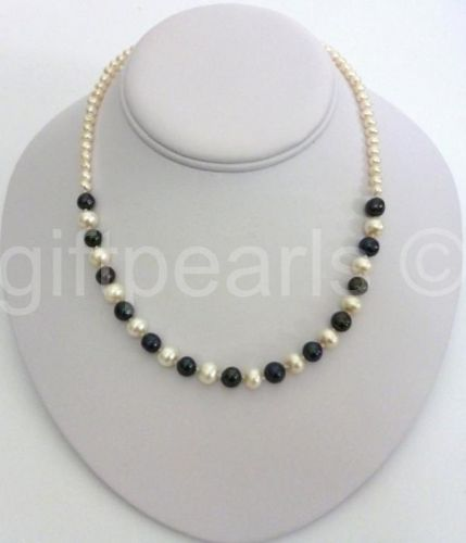Black and White pearl necklace.